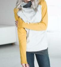 Women's Casual Double Hooded Funnel Neck Contrast Color Pocket Sweats Top Blouse