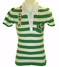 New Women's Superdry Knitted Striped Polo Shirt Blouse Top Green White