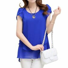 Fashion New 2017 Elegant Women Blouse Chiffon Short Sleeve O Neck Plus Size Wome