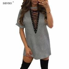 Sibybo Summer T Shirt Dress 2017 Women Deep V Neck Lace Up  Sexy Bodycon Bandage