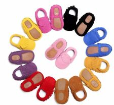 New Genuine Leather Baby Moccasins Hard Rubber Sole