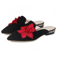 Women Lady Sweet Embroidery Floral Sandals Flats Mules Low Heels Shoes Casual Sz