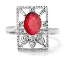 925 Sterling Silver Ring with Red Ruby Natural Oval Gemstone Size 5,6,7,8,9,10