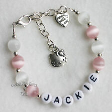 Personalised Any Name Girls Hello Kitty Cat Heart Charm Bracelet Jewellery Gift
