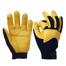 Mens Leather Deerskin Gloves Garden Work Security Driver Protection Safety Wear
