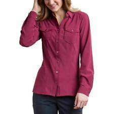 Exofficio Womens Shirt Button Down Red Career Long Sleeve Top Stretch