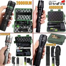 Tactical Zoomable Flashlight 5Modes 40000LM T6 LED 18650 Focus Torch +Case + BTY