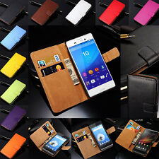 Luxury Genuine Real Leather Flip Case Wallet Stand Cover For Sony Xperia Models