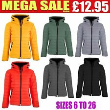 Ladies Thick Warm Quilted Padded Bubble Fur Hooded Womens Zip Up Puffer Jacket