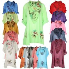 New Womens Ladies Lagenlook Floral Italian Baggy Scarf Tunic Tops T-Shirt 10-18