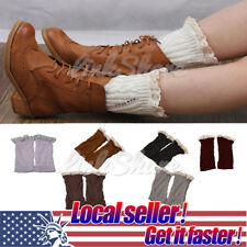 US Hot Women Winter Leg Warmers Lace Crochet Knit Boot Socks Toppers Cuffs sl