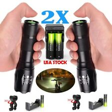 G700 X800 Zoom 50000LM XML T6 LED Flashlight Torch Lamp +18650+Charger+Clip 、