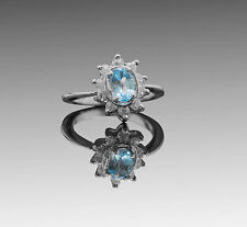 925 Sterling Silver ring with Oval Sky Blue Topaz Natural Gemstone Handmade.