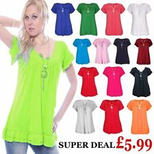 Ladies Frill Summer Gypsy Tunic Top Womens Short Sleeve Necklace T-Shirt Dress