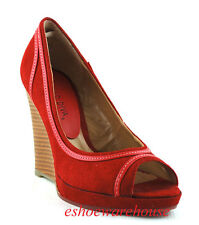 So Sexy Curvy Piping Open Toe Wedge Pumps Shoes Drk Red