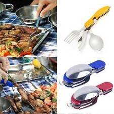3 in 1 Portable Stainless Steel Folding Fork Knife Set Outdoor Camping Tableware