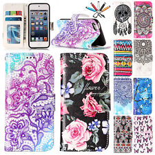 Painted Magnet Leather Flip Wallet Protect Case Cover For iPod Touch 5th/6th Gen