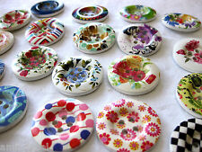 7 large Wooden-Buttons, different Patterns,approx. 35 mm,Patterns selectable K87