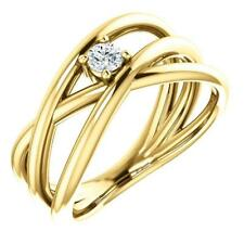 14K Yellow Gold Diamond Solitaire Negative Space Ring Size 7
