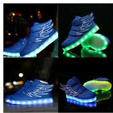 LED Light Up Kids Boys Girls Trainers PU Leather Sneakers Luminous Shoes Blue