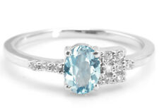 925 Sterling Silver Ring with Natural Oval Cut Blue Topaz Gemstone eBay