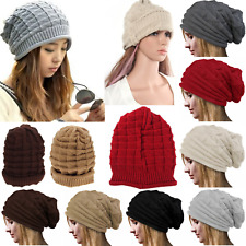 NEW Womens Mens Winter Warm Beanie Beret Hat Plicate Baggy Slouchy Oversized Cap