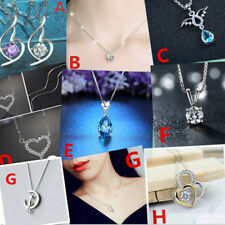 Women Jewelry 925 Sterling Silver Crystal Charm Necklace Pendant Clavicle Chain