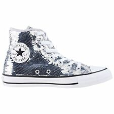 Converse Chuck Taylor All Star Hi Silver White Womens Sequin Lace-up Trainers