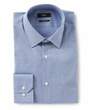 HUGO BOSS ENZO US BLACK LABEL DRESS SHIRT REGULAR FIT SPREAD COLLAR  BLUE -NWT