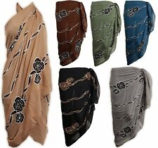 PLUS SIZE ROSE EMBROIDERED SARONG Beach Pareo Dress Wrap Swimwear Cover Up