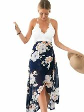 Women Backless Floral Print V Neck Open Back Long Maxi High Low Dress