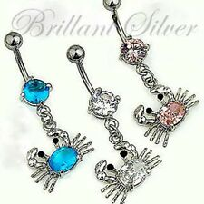 Belly Button Piercing Stud Navel Piercing Cancer Pendant Blue Pink White