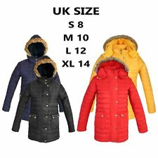 New Womens Ladies Fur Hooded Zip Up Thick Warm Padded Quilted Jacket Parka Coat