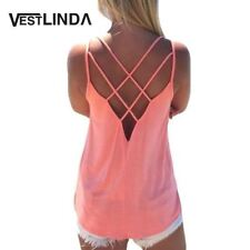 Sexy Women Tank Top Ladies Camisole Sleeveless Strap Vest Backless Tops Solid Cr