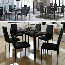 Glass Dining Table Set and with 4/6 Seater Faux Leather Chairs Kitchen Designer