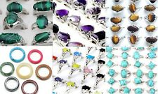 Wholesale Lot 10 25 50 Silver Tone Solid Gemstone Rings Bulk Mixed Size Cheap