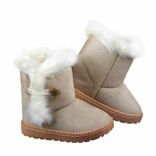 Winter Children Boots Faux Suede Furry Lined Boys Girls Snow Boots Soft Ankle Bu