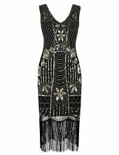 PrettyGuide Women's 1920s Gatsby Sequin Art Deco Fringed Cocktail Flapper Dress