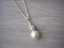 Pearl diamante pave crystal rhinestone pendant necklace silver chain
