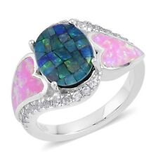 Australian Mosaic Opal, Simulated Pink Opal, White Zircon Sterling Silver Ring (