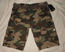 XRAY Jeans Mens 30 34 NWT Army Green Camouflage Camo Belted Cargo Shorts Punk
