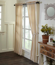 "Tan Buffalo Check Plaid Country Lined Panel Curtains 40x84"" & Valance Option"