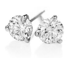 0.60ct Genuine Round Diamond 14k White Gold 3 Prong Martini Set Stud Earrings Ce