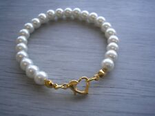 Pearl Bracelet with a Gold Plated Love Heart shaped Clasp Flowergirl Bridesmaids