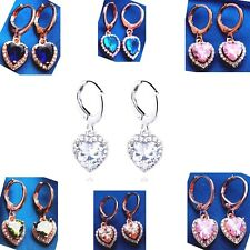 Earrings Dangle Sweetheart CZ White+Pink/Blue/Green Color Gems Rose/White-GP
