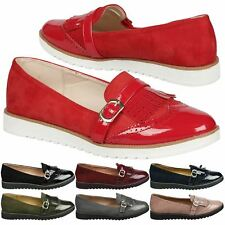 Byrn Womens Flats Low Heels Flatform Slip On Loafers Ladies Fringed Shoes Size