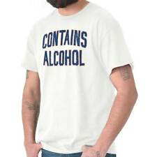Contains Alcohol Drinking Beer Vodka Whiskey Party Cool Cute T-Shirt Tee