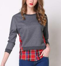 Women Faux Twinset Plaids Splicing Round Neck Long Sleeve Slim Shirt Tops Blouse