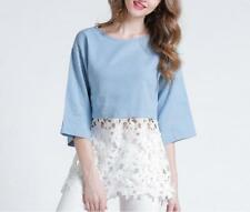 Women Denim Round Neck Mid Sleeve Floral Lace Spliced Slim Fit Shirt Blouse
