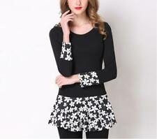 Women Flower Pattern Splicing Scoop Neck Long Sleeve Stretched Micro Mini Dress